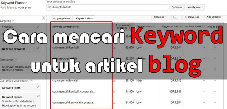 Cara mencari keyword untuk blog