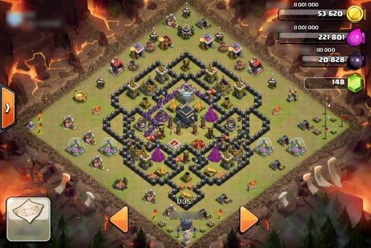 desain clan war base TH 9