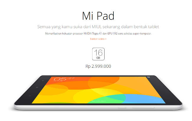 harga Mi Pad Indonesia