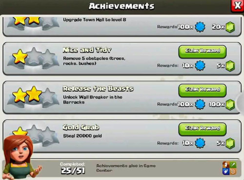 gem gratis CoC dari Achievements Clash of Clans