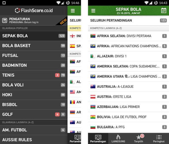Aplikasi Live Score Paling Lengkap