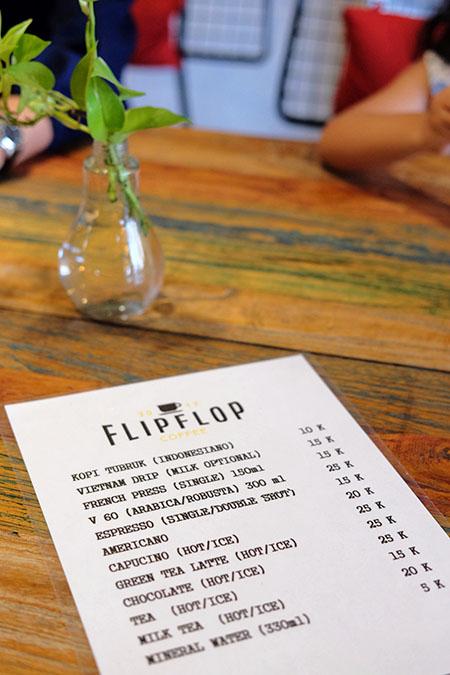 Menu Di Flip Flop Coffee bandar Lampung