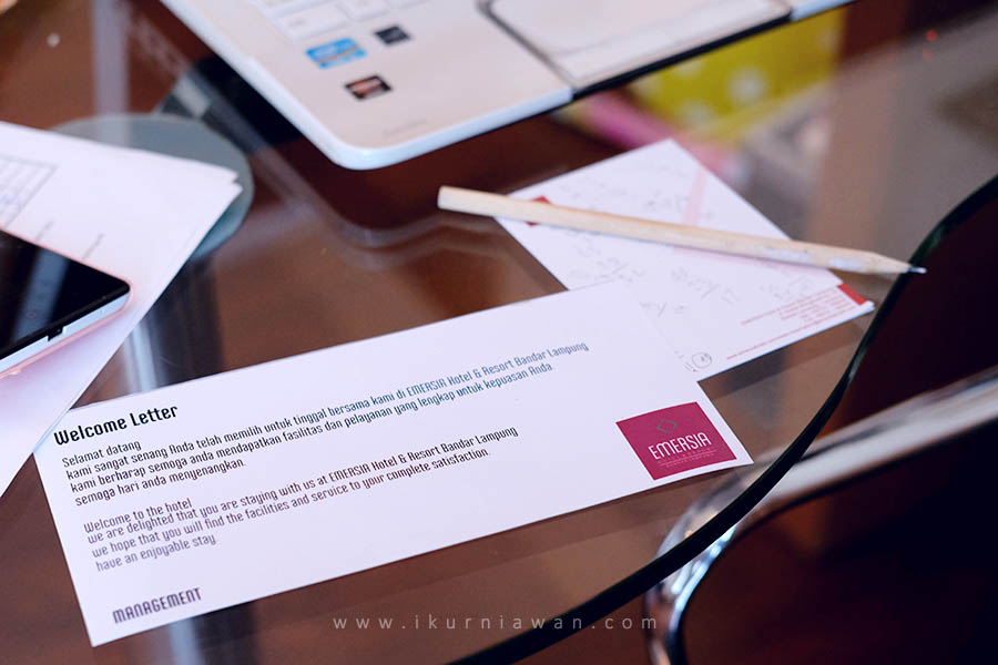 Welcome letter hospitality Emersia Hotel Lampung
