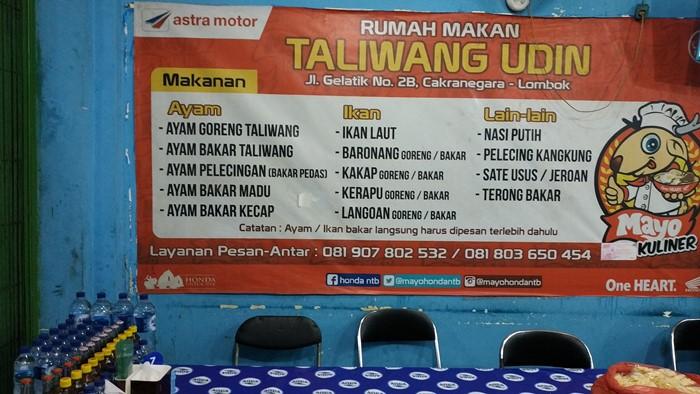 Menu Harga Makan Ayam Taliwang Pak Udin Lombok
